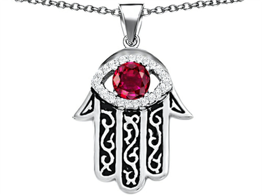 Star K Good Luck Hamsa Evil Eye Protection Pendant Necklace with Round Created Ruby Sterling Silver