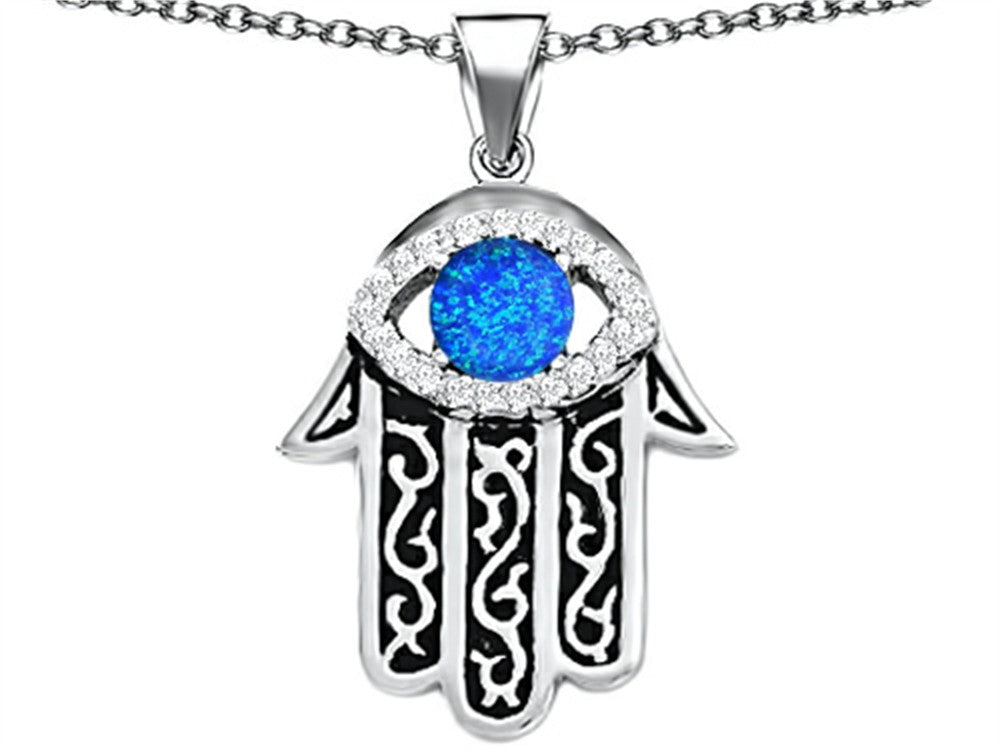 Star K Good Luck Hamsa Evil Eye Protection Pendant Necklace with Round Blue Created Opal Sterling Silver