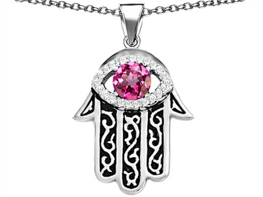 Star K Good Luck Hamsa Evil Eye Protection Pendant Necklace with Round Created Pink Sapphire Sterling Silver