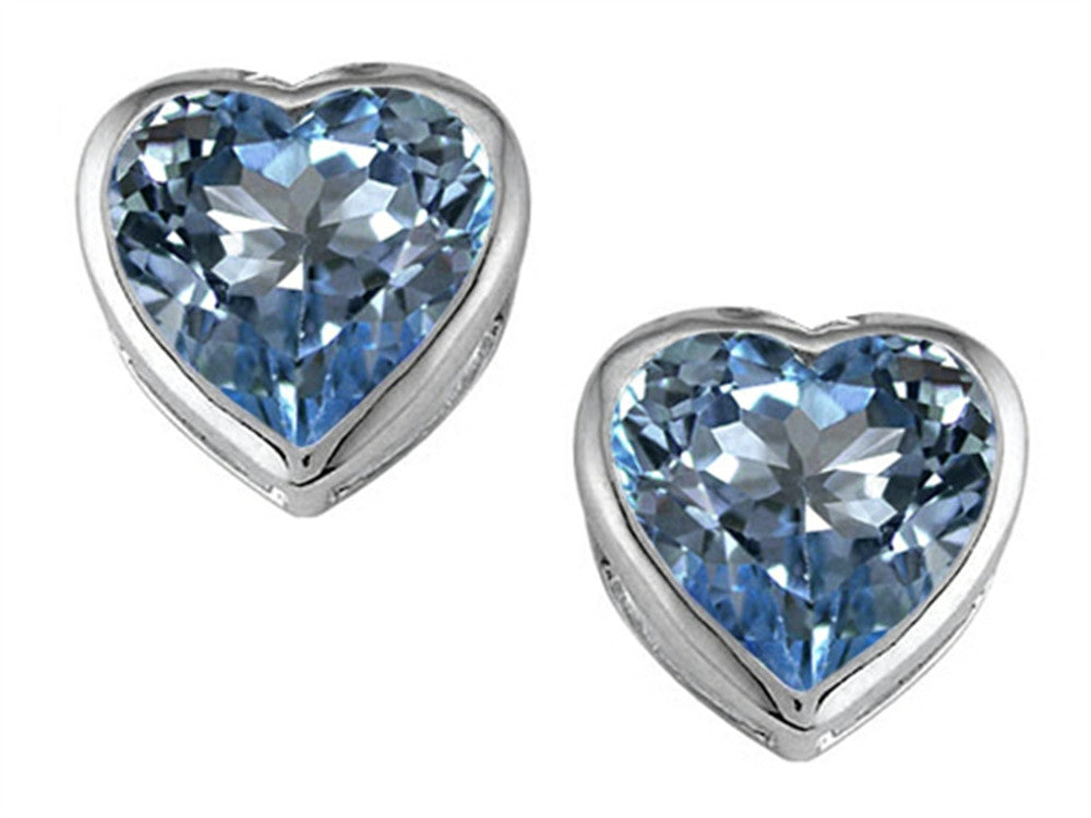 Star K 7mm Heart-Shape Simulated Aquamarine Heart Earrings Studs Sterling Silver