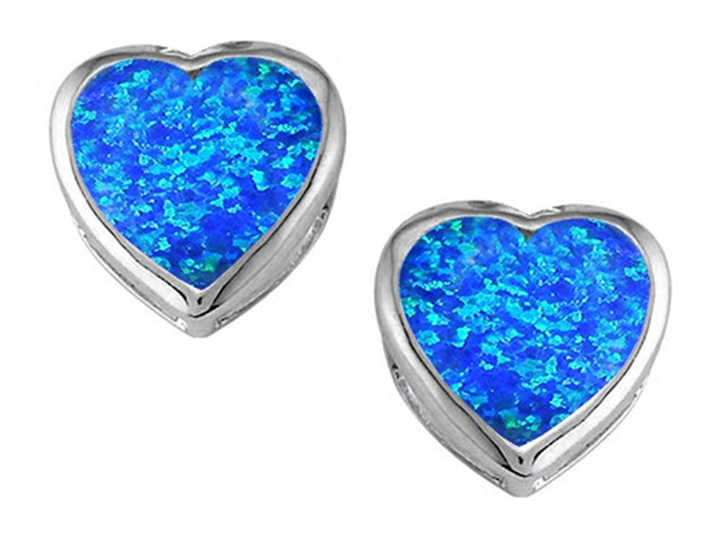 Star K 7mm Heart-Shape Blue Created Opal Heart Earrings Studs Sterling Silver