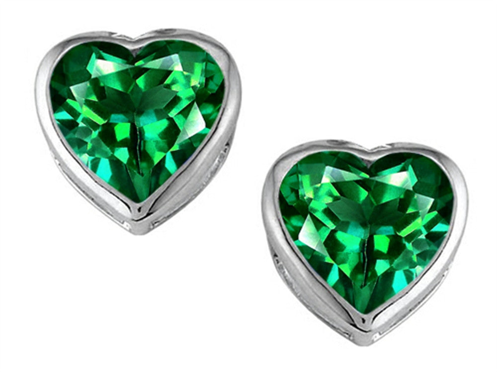 Star K 7mm Heart-Shape Simulated Emerald Heart Earrings Studs Sterling Silver