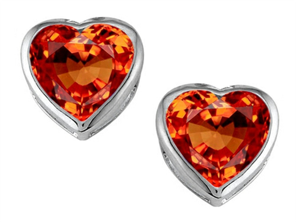 Star K 7mm Heart-Shape Simulated Mexican Orange Fire Opal Heart Earrings Studs Sterling Silver