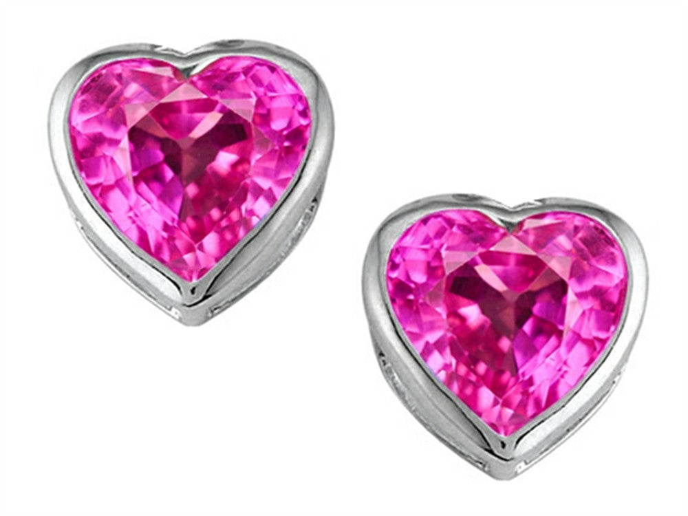 Star K 7mm Heart-Shape Created Pink Sapphire Heart Earrings Studs Sterling Silver