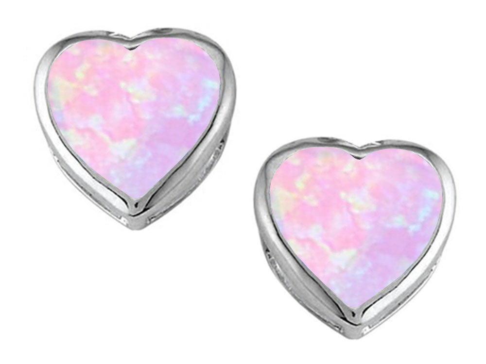 Star K 7mm Heart-Shape Pink Created Opal Heart Earrings Studs Sterling Silver