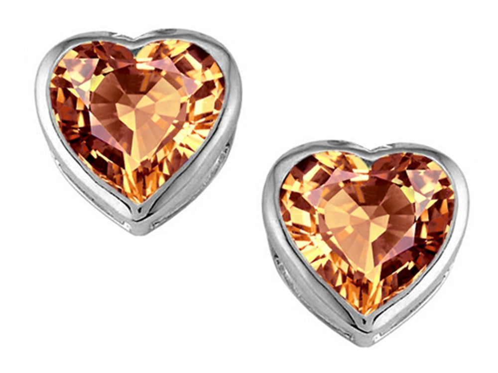 Star K 7mm Heart-Shape Simulated Imperial Yellow Topaz Heart Earrings Studs Sterling Silver