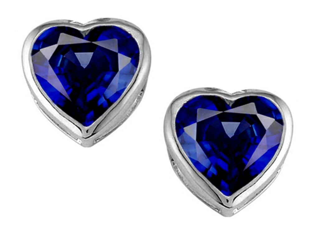 Star K 7mm Heart-Shape Created Sapphire Heart Earrings Studs Sterling Silver