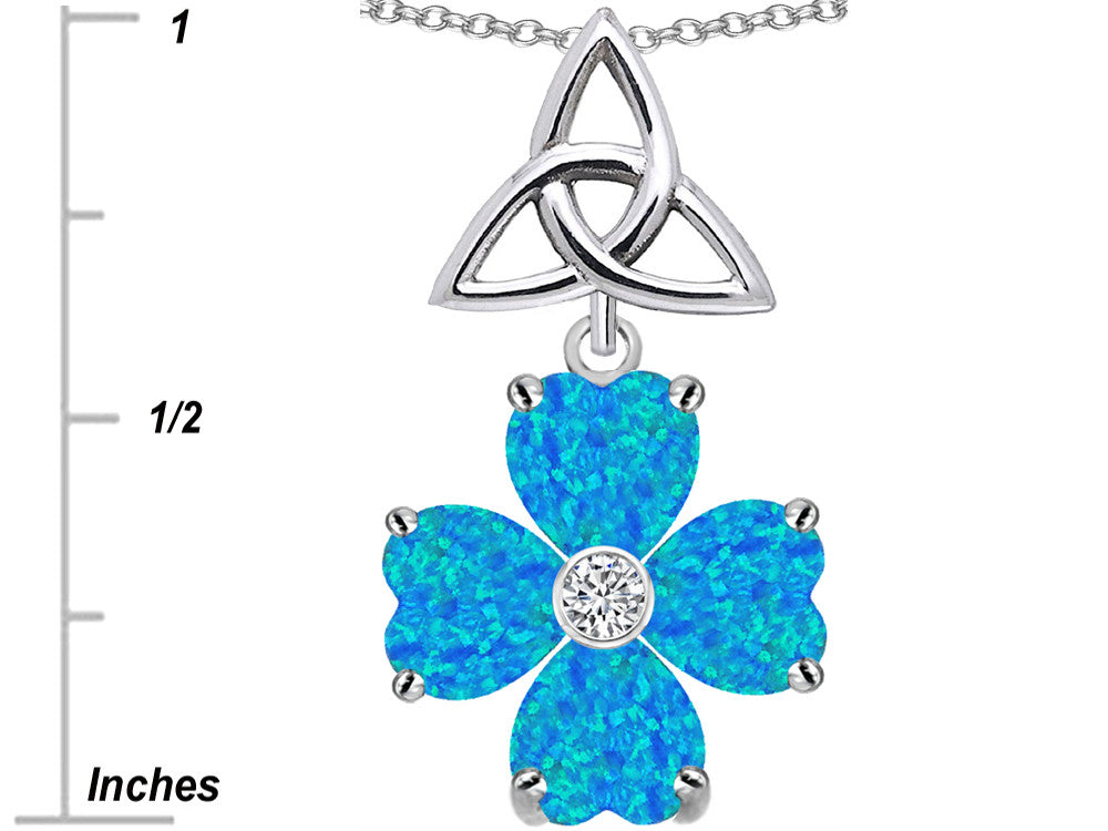 Star K Lucky Shamrock Celtic Knot Made with Heart 6mm Blue Created Opal Sterling Silver