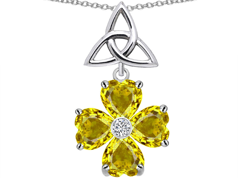 Star K Lucky Shamrock Celtic Knot Made with Heart 6mm Simulated Citrine Sterling Silver