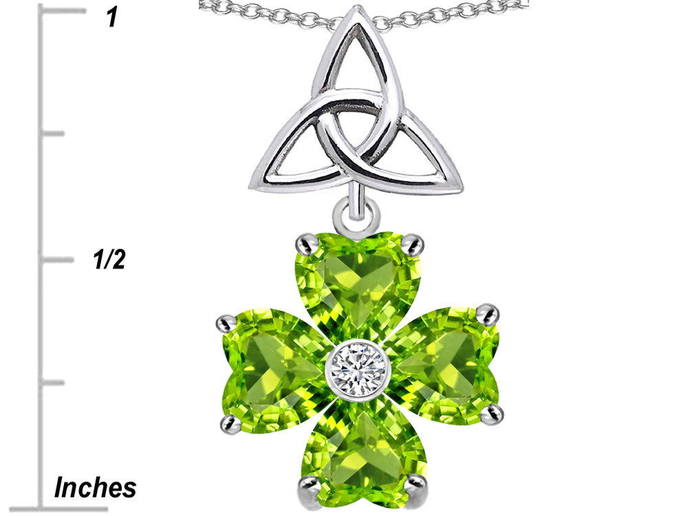 Star K Lucky Shamrock Celtic Knot Made with Heart 6mm Simulated Peridot Sterling Silver