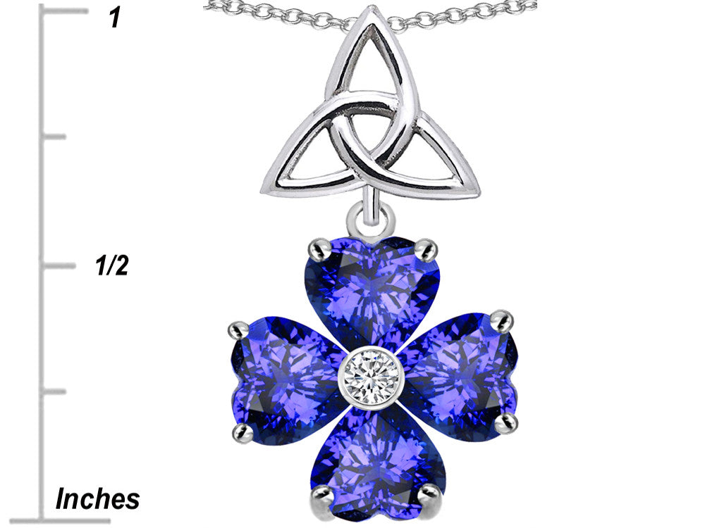 Star K Lucky Shamrock Celtic Knot Made with Heart 6mm Simulated Tanzanite Sterling Silver