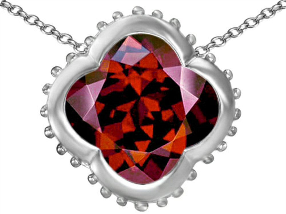 Star K Clover Pendant Necklace with 12mm Clover Cut Simulated Garnet Sterling Silver