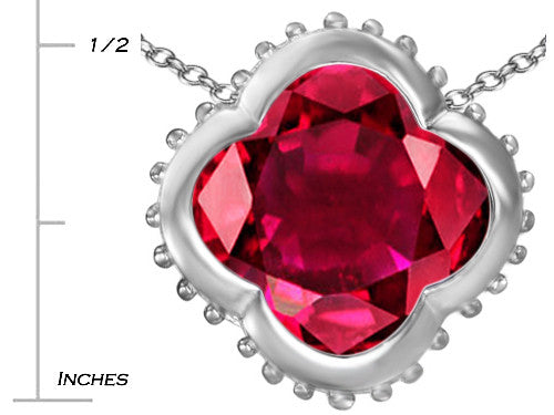 Star K Clover Pendant Necklace with 12mm Clover Cut Created Ruby Sterling Silver
