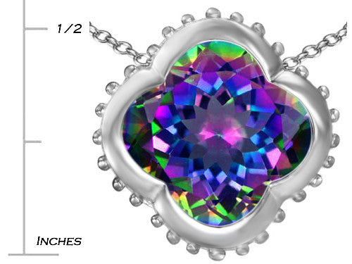 Star K Clover Pendant Necklace with 12mm Clover Cut Simulated Mystic Topaz Sterling Silver