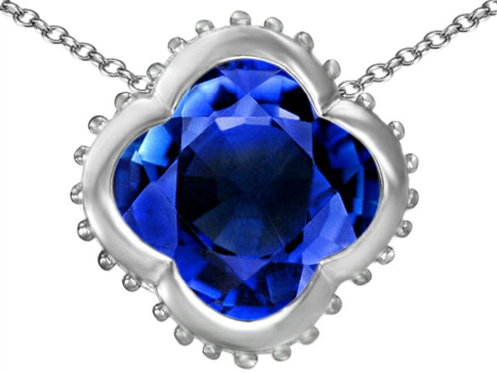 Star K Clover Pendant Necklace with 12mm Clover Cut Created Sapphire Sterling Silver