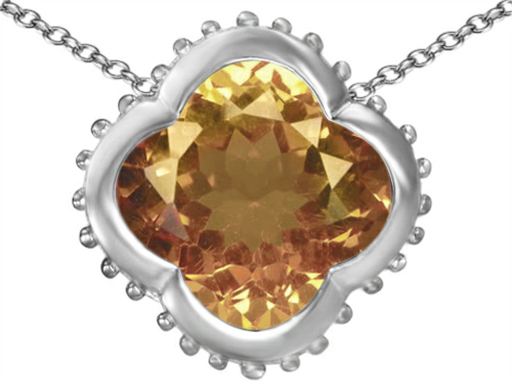 Star K Clover Pendant Necklace with 12mm Clover Cut Simulated Imperial Yellow Topaz Sterling Silver