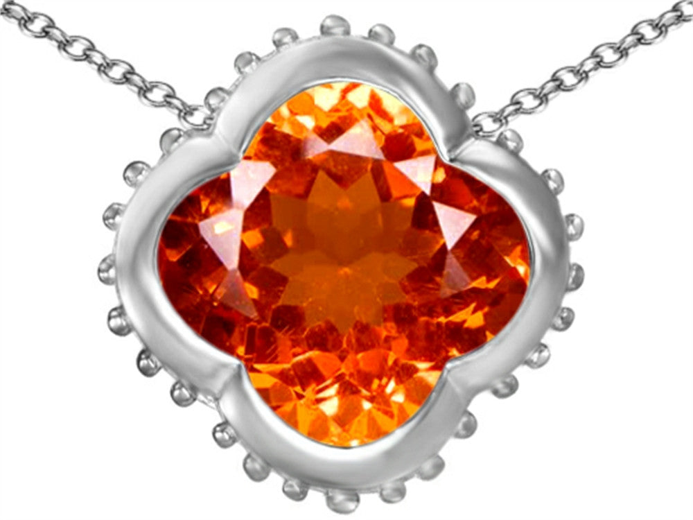 Star K Clover Pendant Necklace with 12mm Clover Cut Simulated Mexican Orange Fire Opal Sterling Silver