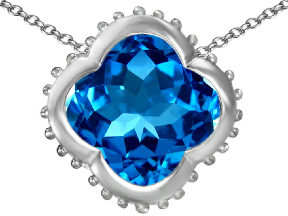 Star K Clover Pendant Necklace with 12mm Clover Cut Simulated Blue-Topaz Sterling Silver