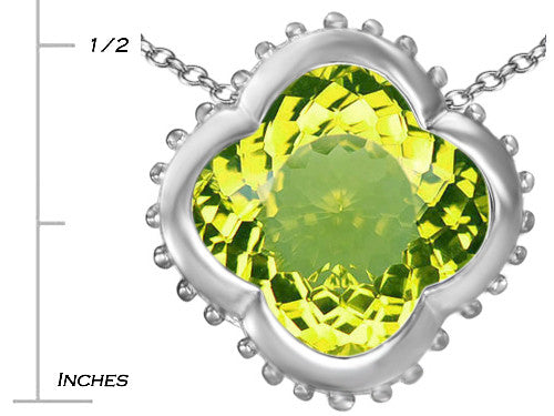 Star K Clover Pendant Necklace with 12mm Clover Cut Simulated Peridot Sterling Silver
