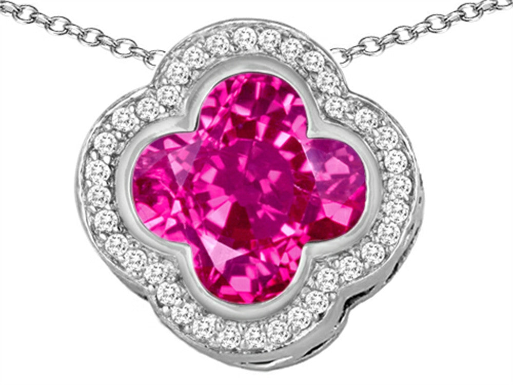 Star K Clover Pendant Necklace with 12mm Clover Cut Created Pink Sapphire Sterling Silver