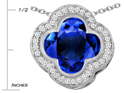 Star K Clover Pendant Necklace with 12mm Clover Cut Simulated Sapphire Sterling Silver