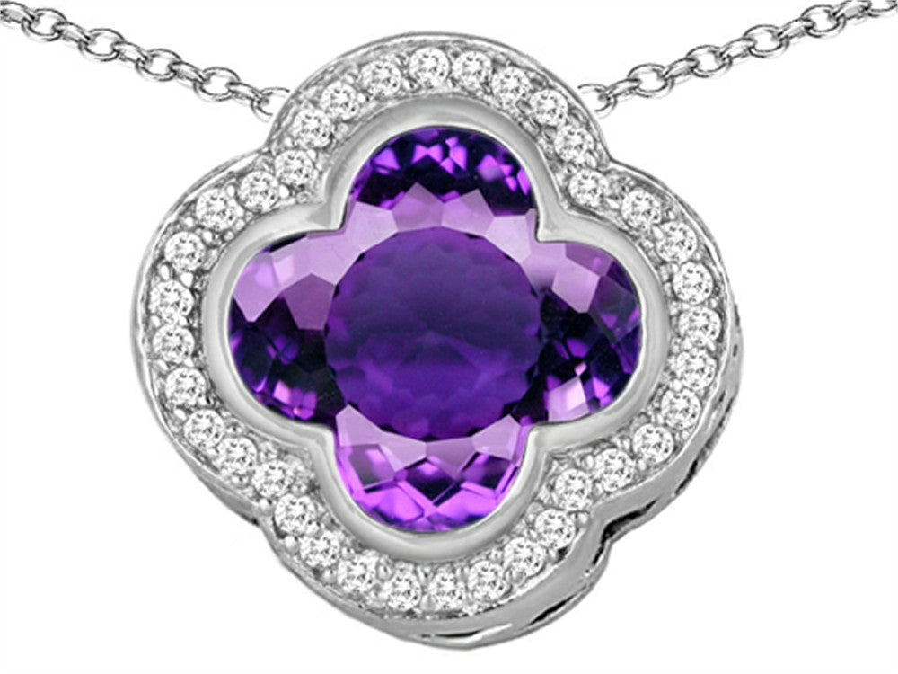 Star K Clover Pendant Necklace with 12mm Clover Cut Simulated Amethyst Sterling Silver