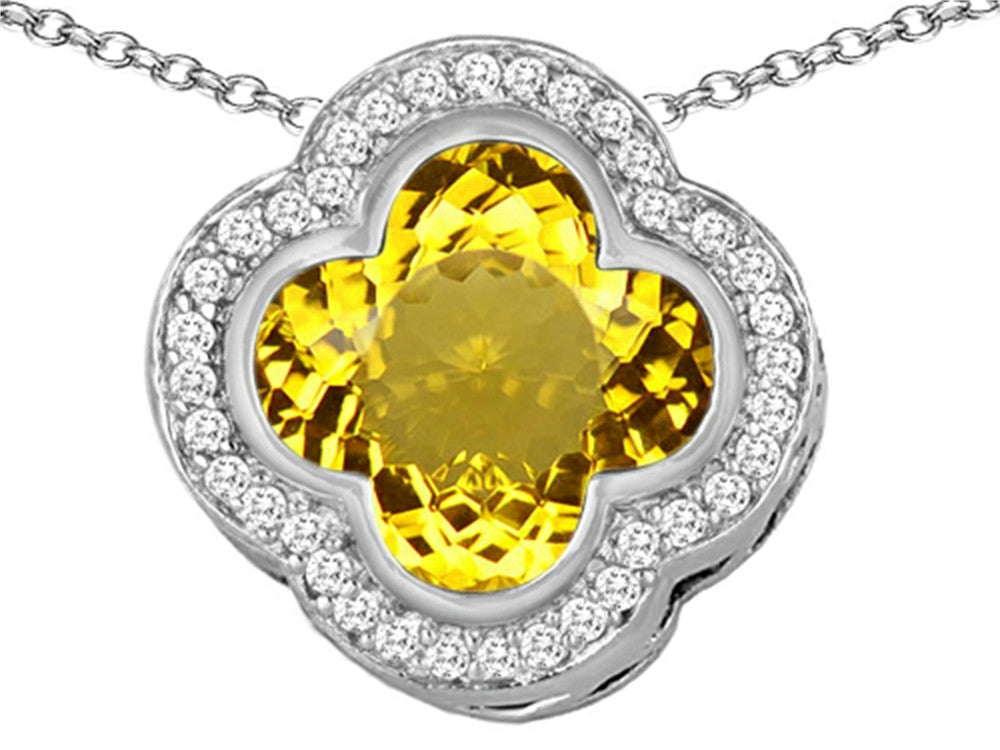 Star K Clover Pendant Necklace with 12mm Clover Cut Simulated Citrine Sterling Silver