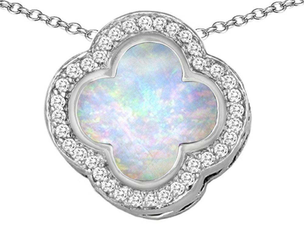 Star K Clover Pendant Necklace with 12mm Clover Cut Created Opal Sterling Silver