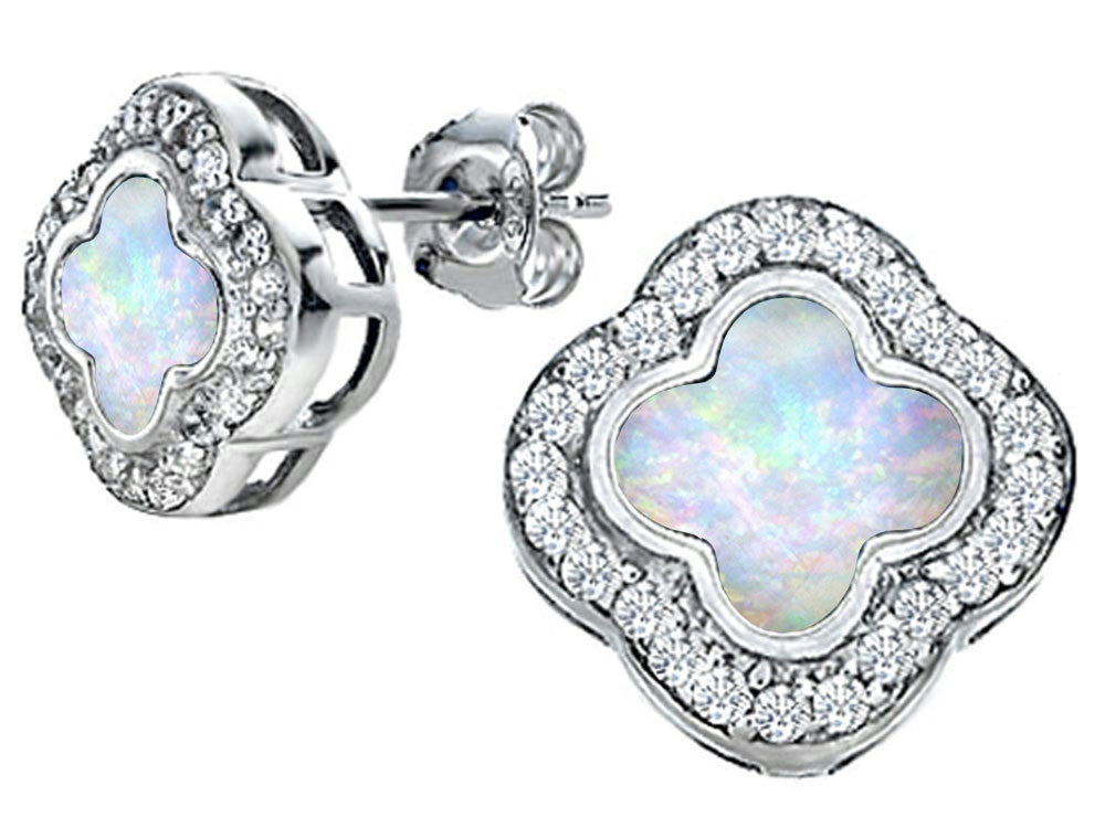 Star K Clover Earrings Studs with 8mm Clover Cut Created Opal Sterling Silver