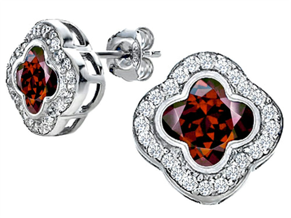 Star K Clover Earrings Studs with 8mm Clover Cut Simulated Garnet Sterling Silver
