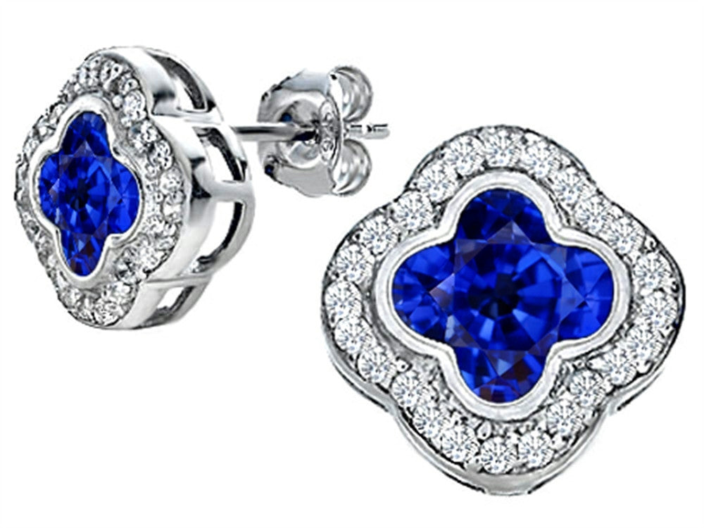Star K Clover Earrings Studs with 8mm Clover Cut Created Sapphire Sterling Silver