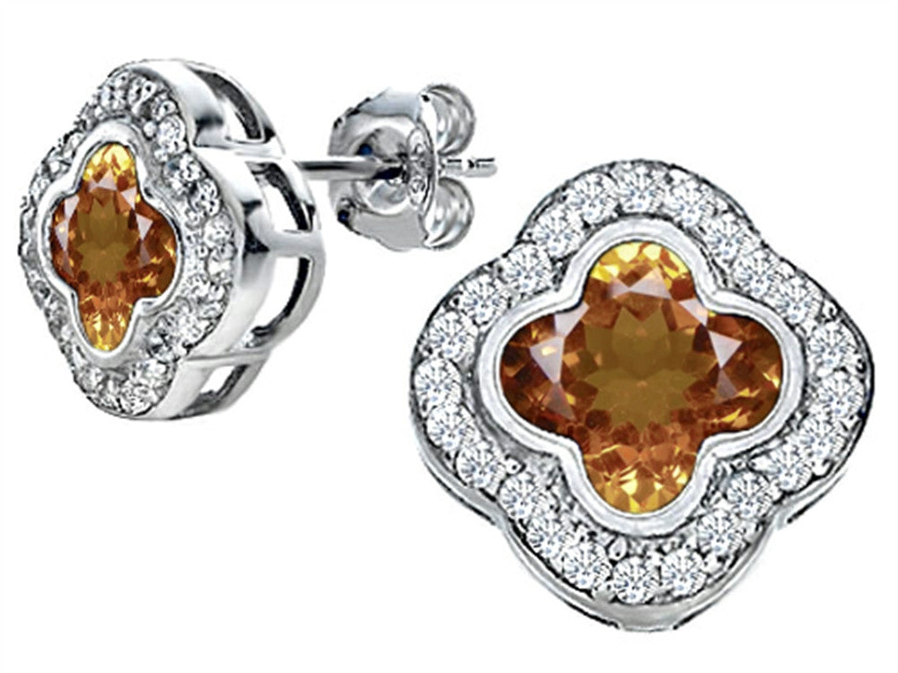 Star K Clover Earrings Studs with 8mm Clover Cut Simulated Imperial Yellow Topaz Sterling Silver