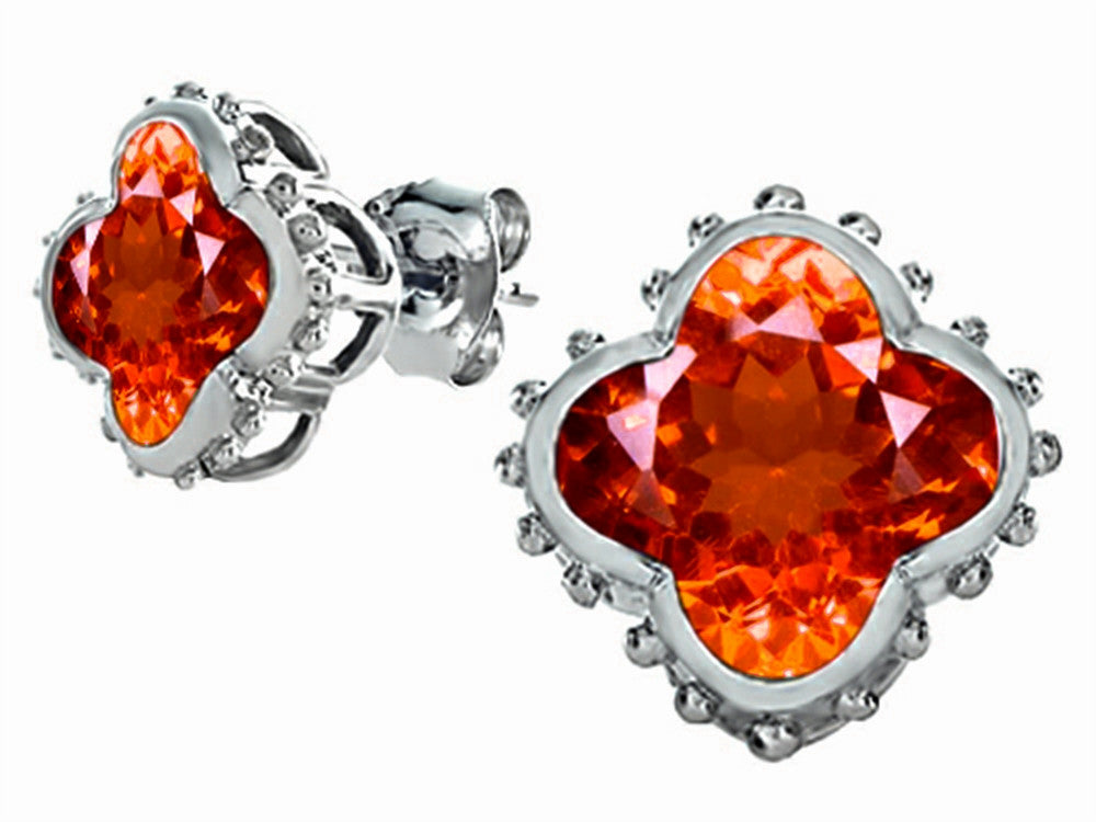 Star K Clover Earrings Studs with 8mm Clover Cut Simulated Mexican Orange Fire Opal Sterling Silver