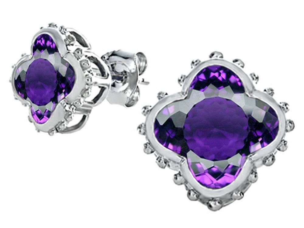 Star K Clover Earrings Studs with 8mm Clover Cut Simulated Amethyst Sterling Silver