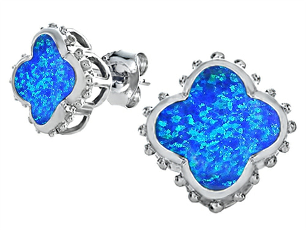 Star K Clover Earrings Studs with 8mm Clover Cut Blue Created Opal Sterling Silver