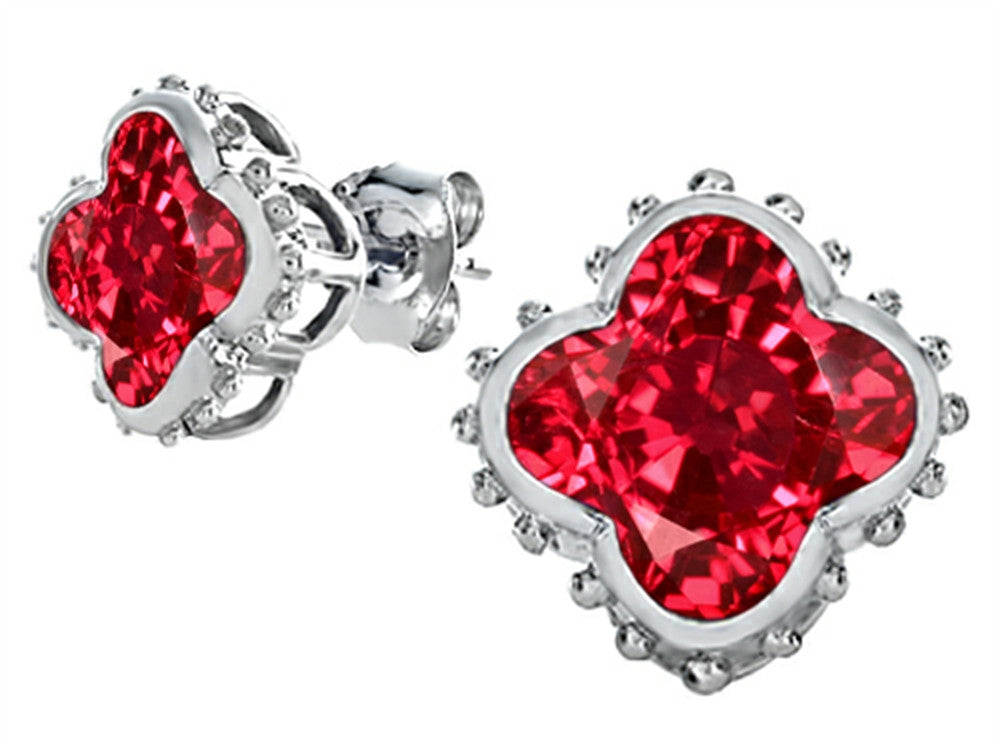 Star K Clover Earrings Studs with 8mm Clover Cut Created Ruby Sterling Silver