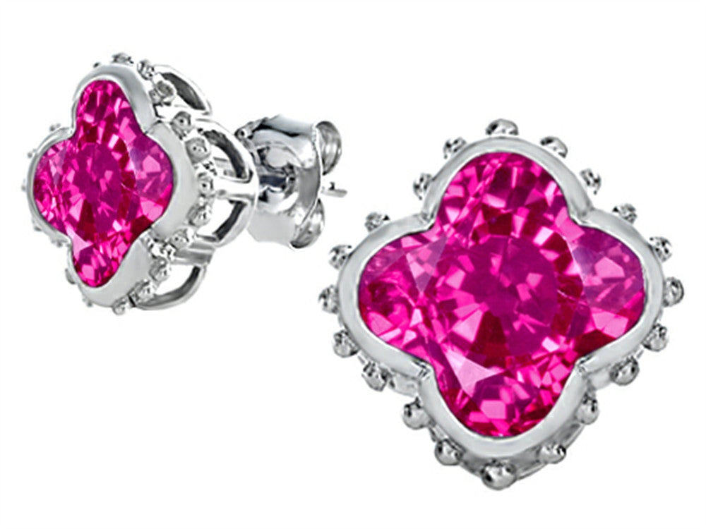 Star K Clover Earrings Studs with 8mm Clover Cut Created Pink Sapphire Sterling Silver