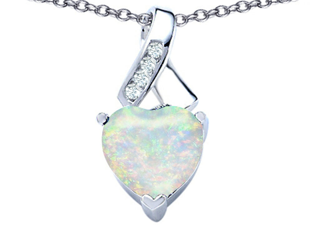 Star K 8mm Heart-Shape Created Opal Ribbon Pendant Necklace Sterling Silver