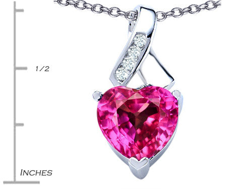 Star K 8mm Heart-Shape Created Pink Sapphire Ribbon Pendant Necklace Sterling Silver