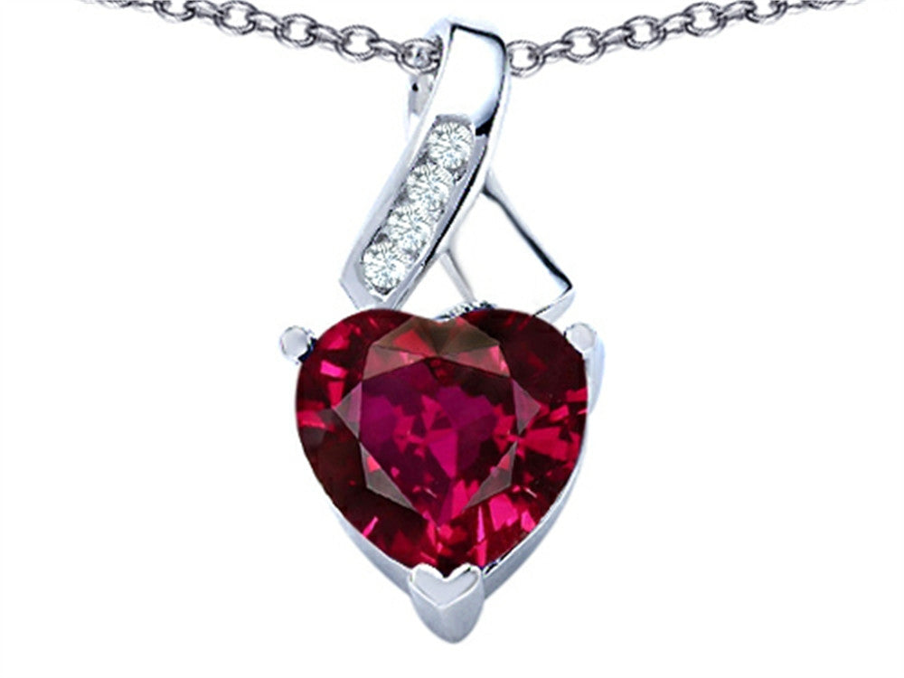 Star K 8mm Heart-Shape Created Ruby Ribbon Pendant Necklace Sterling Silver