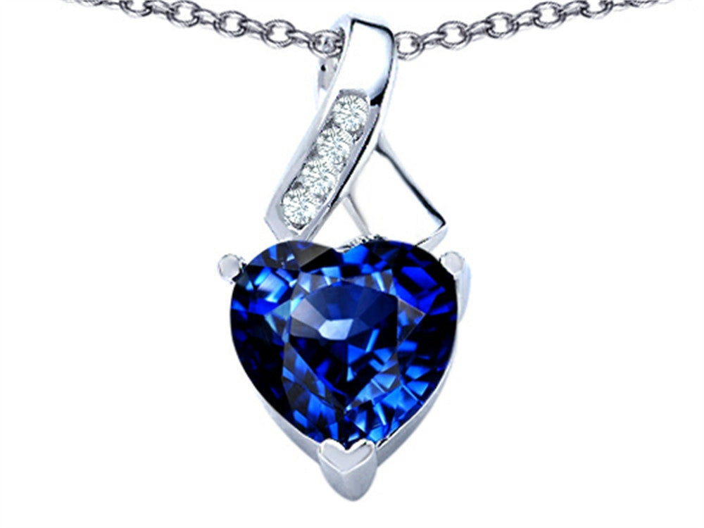 Star K 8mm Heart-Shape Created Sapphire Ribbon Pendant Necklace Sterling Silver