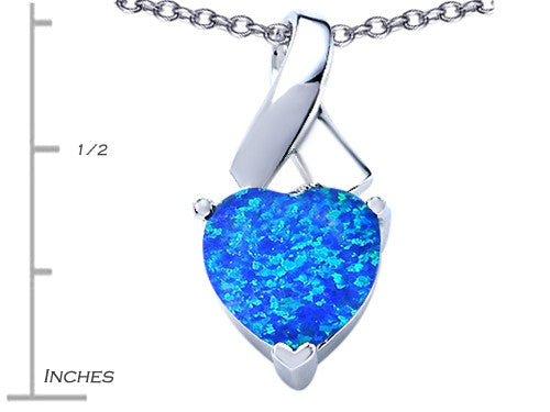 Star K 8mm Heart-Shape Blue Created Opal Ribbon Pendant Necklace Sterling Silver