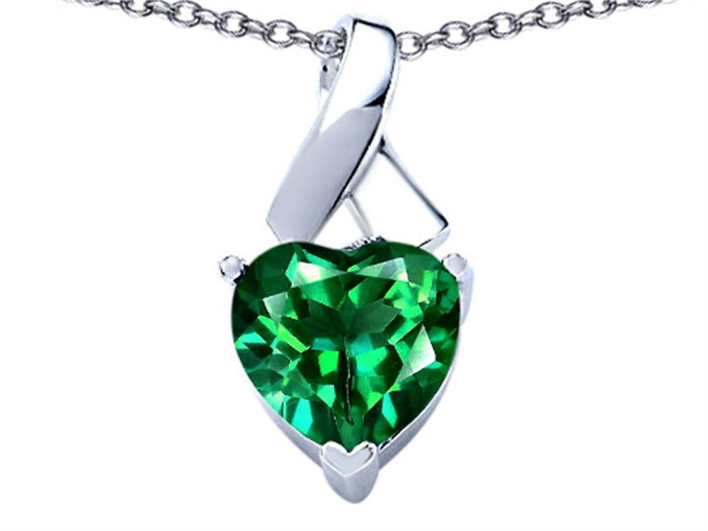 Star K 8mm Heart-Shape Simulated Emerald Ribbon Pendant Necklace Sterling Silver
