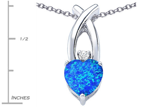 Star K 8mm Heart-Shape Blue Created Opal Cross Heart Pendant Necklace Sterling Silver
