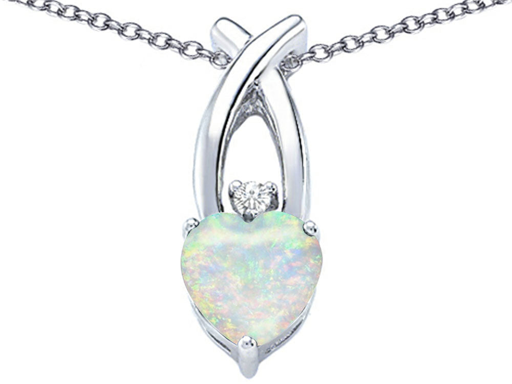 Star K 8mm Heart-Shape Created Opal Cross Heart Pendant Necklace Sterling Silver