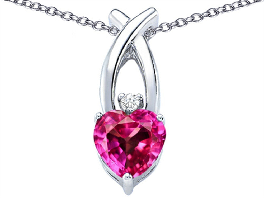 Star K 8mm Heart-Shape Created Pink Sapphire Cross Heart Pendant Necklace Sterling Silver