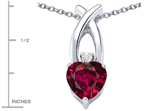 Star K 8mm Heart-Shape Created Ruby Cross Heart Pendant Necklace Sterling Silver