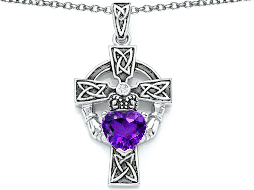 Star K Claddagh Cross Pendant Necklace with 7mm Heart-Shape Simulated Amethyst Sterling Silver