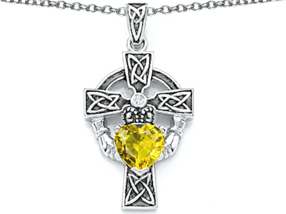 Star K Claddagh Cross Pendant Necklace with 7mm Heart-Shape Simulated Citrine Sterling Silver
