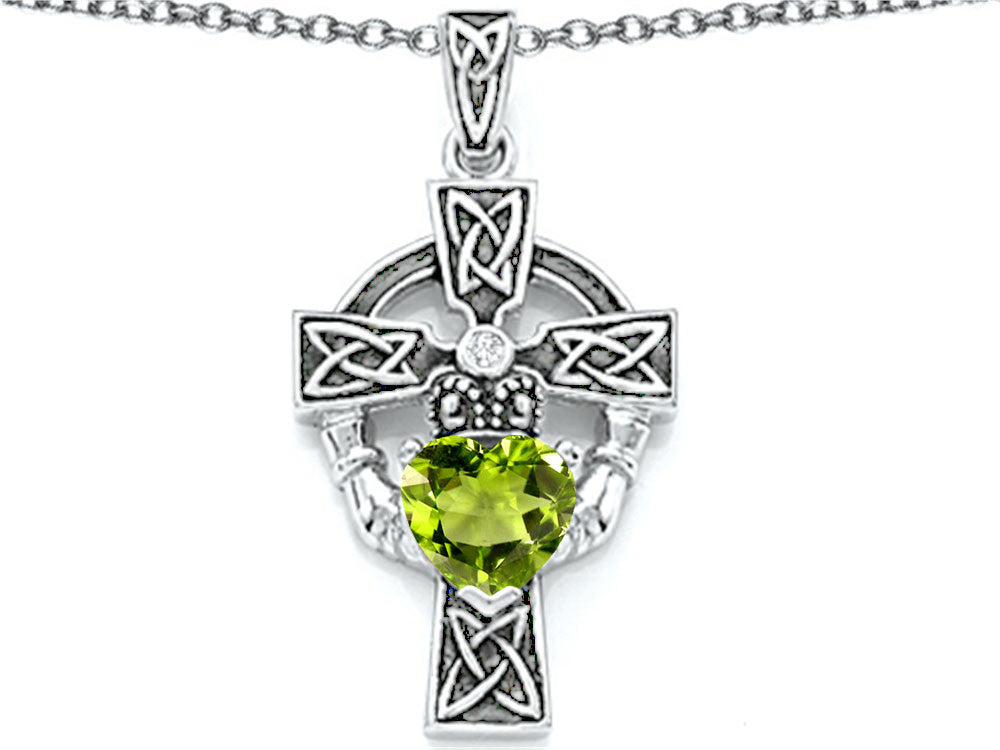Star K Claddagh Cross Pendant Necklace with 7mm Heart-Shape Simulated Peridot and Cubic Zirconia Sterling Silver